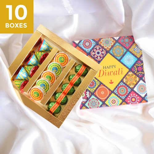 Diwali Phataka Personalized Gift Box, Assorted Chocolates - 10 boxes