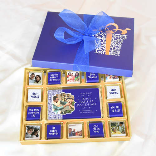 Raksha Bandhan Blue Gift Box, Personalized Assorted Chocolate 1 Bar + 14 Cubes