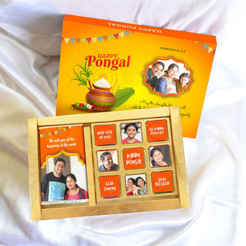 Pongal Gift Box, Personalized Assorted Chocolate (1 Bar + 9 Cubes)