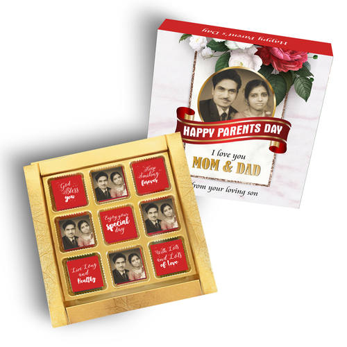 Parent's Day Gift Box, Personalized Assorted Chocolate (9 Cubes)
