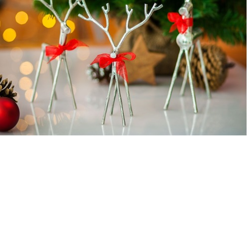 Set of 3 Stainless Steel Deers - Freestanding