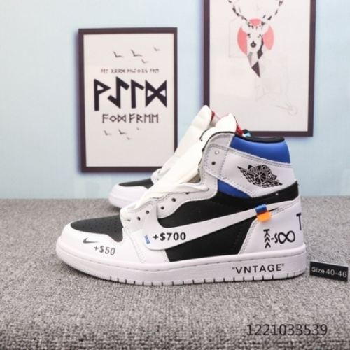 "Air Jordan 1 ""Resell Me"" White black royal blue or"