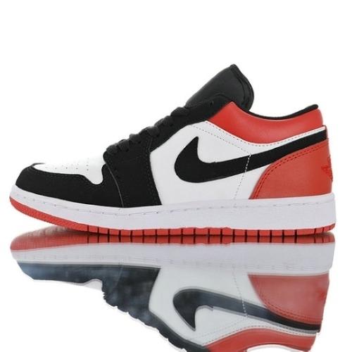 "Air Jordan 1 Low""Black Toe""553558-116 Womens Mens"