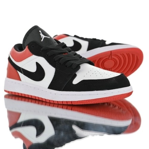 "Air Jordan 1 Low""Black Toe""553558-116 Womens Mens"