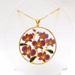 Enamel Orchid Pendant