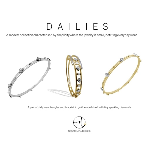 Gold & whitegold diaily bangles with cluster diamonds, A daily wear yellow gold oval openable bracelet with fancy diamonds