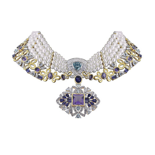 A Majestic and grand multi gem studed necklace set in gold and diamonds for special occasions