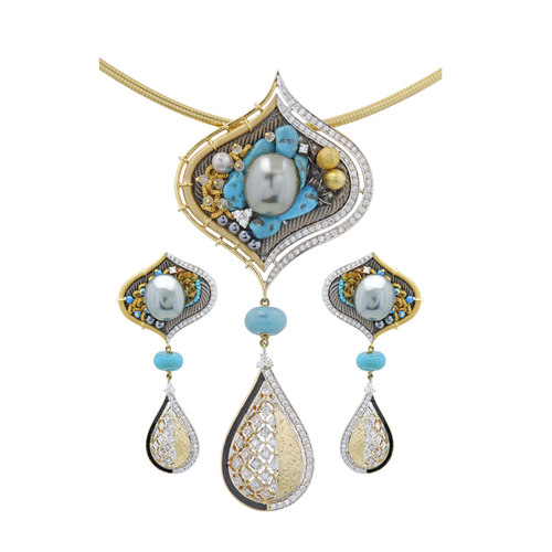 Ornate pendant sets, where clusters of gemstones artistically juxtaposed with gold wires, using the art of embroidery and jewel making.