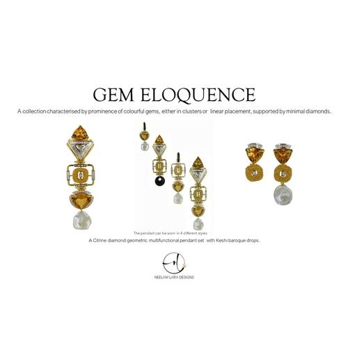 A citrine diamond geometric inspired pendant and earrings, boasting of multifunctional wearability