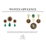 Opulent embroidery inspired traditional green red combination, pendant sets in gold ,embellished with diamonds and gemstones.