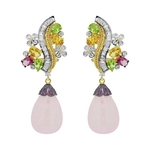 Majestic Chandelier earrings in diamonds and vivid gemstones , befitting a special occasion