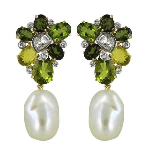 Gorgeous green cluster earrings with baroque pearl drops.