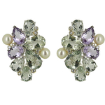 Soft Watercolour green and pink amethyst cluster tops with Akoya pearls