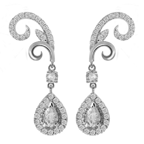 A pair of daily wear oriental motif earrings in whitegold with matching oval shaped sliding bracelet, befitting office wear