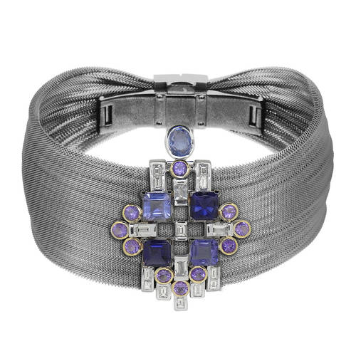 A pair of white gold earrings, pendant and mesh bracelet in beautiful blues and purples