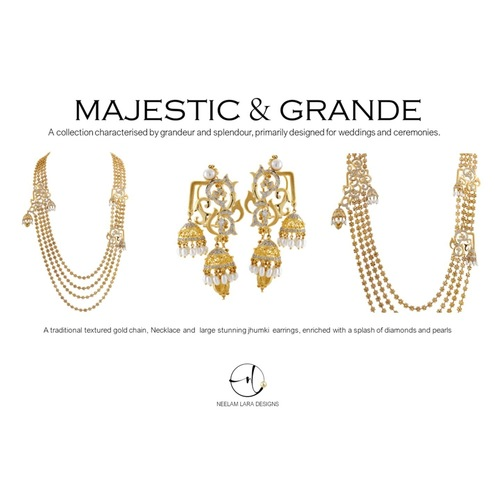 A Majestic textured gold bead 4 strand necklace and grand chandelier earrings
