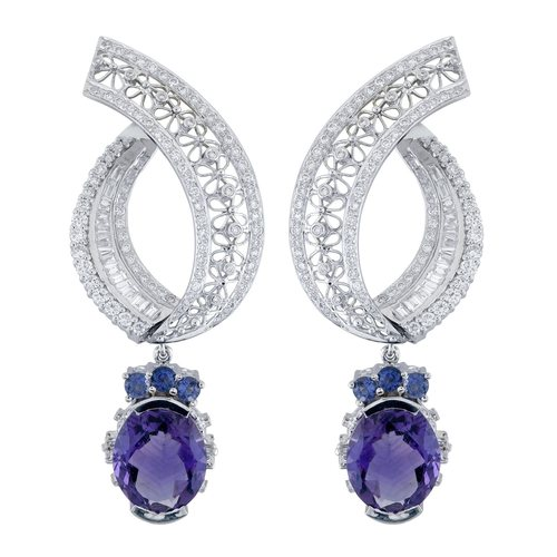 A stunning pair of floral filigree earings studded with rows of glitering diamonds in white gold
