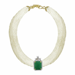 Keshi pearl Princess necklace and removable Emerald diamond pendant