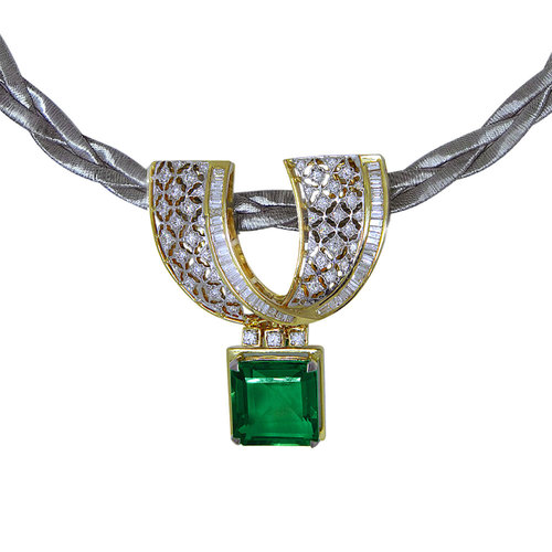 Gold and diamond fine lattice work pendant set with a beautiful green Tourmaline square drop