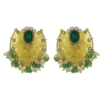 Remarkable large gold textured earrings, contrasted with tiny gem beads