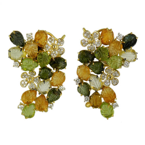 A stunning pair of multi tourmaline citrine leaf shaped gemstone cluster earrings, with diamonds