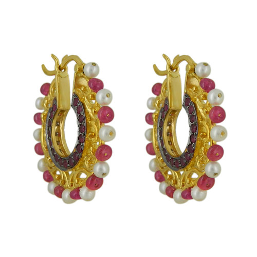 Ruby diamond and gold filigree inspired traditional double-sided hoops