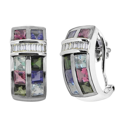 A Geometric inspired pendant set,with matching ring studded with square multi tourmalines in linear placement
