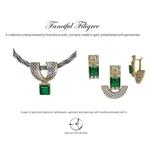 Gold and diamond fine lattice work pendant set with a beautiful green Tourmaline square drop