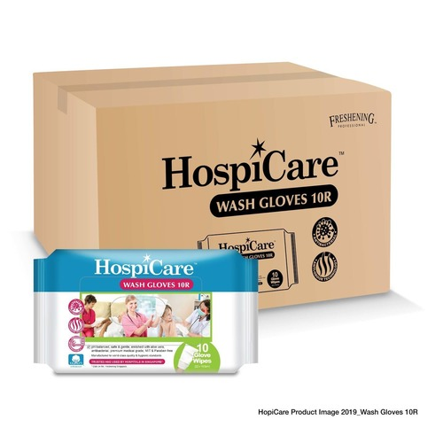 Hospicare Wash Gloves 10R x 24 Packets Carton