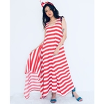 Striped draped asymmetric maxi