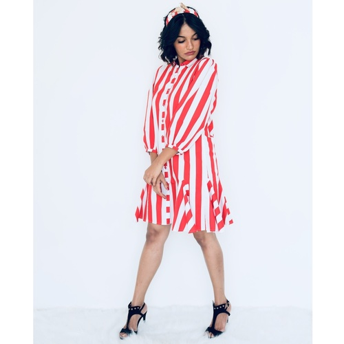 Striped shirt dress with gussets
