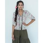 Floral 3 button blouse