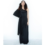 One shoulder maxi dress with flared drapes