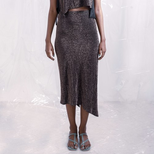 Metallic asymmetric skirt