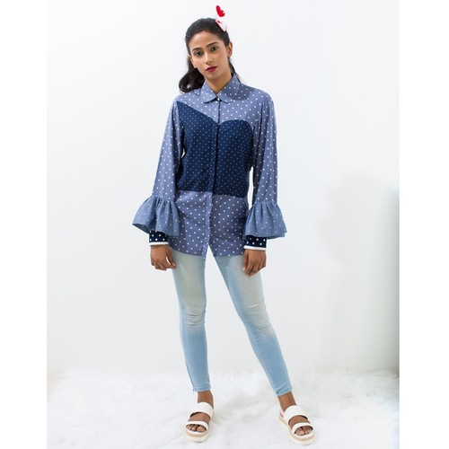 Polka blast bustier patch cotton shirt
