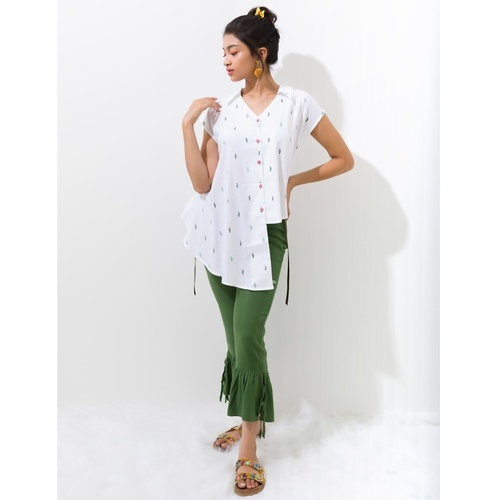 Cactus print drape blouse shirt with cinch strings