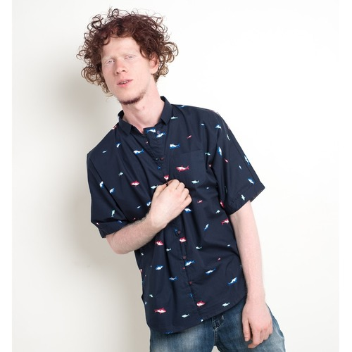 Shark print kimono sleeve unisex shirt