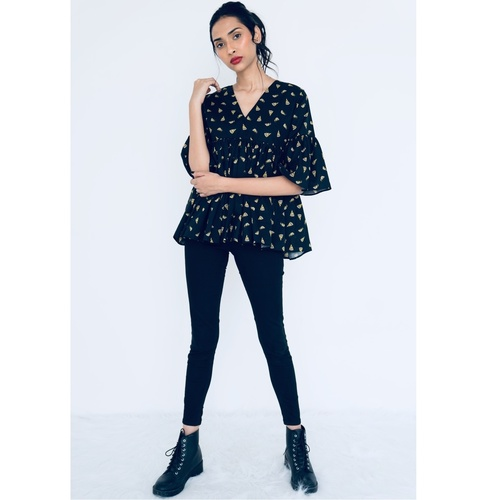 Pizza printed gathered top