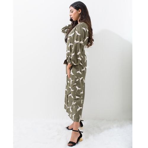 Crane printed coat dress
