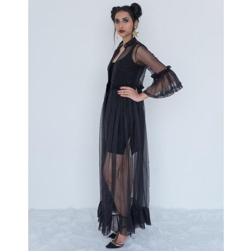 Black net coat dress