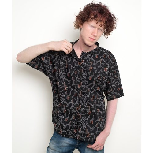 Circuit print kimono sleeve unisex shirt