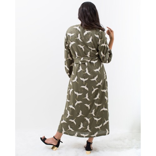 Crane printed coat dress