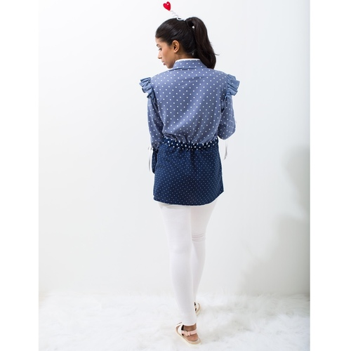 Layered Polka clash cotton shirt with cinching