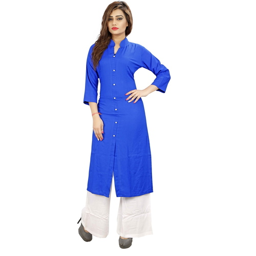 Fasdest Women/Ladies Straight Long Office-wear Rayon Royal Blue Kurti