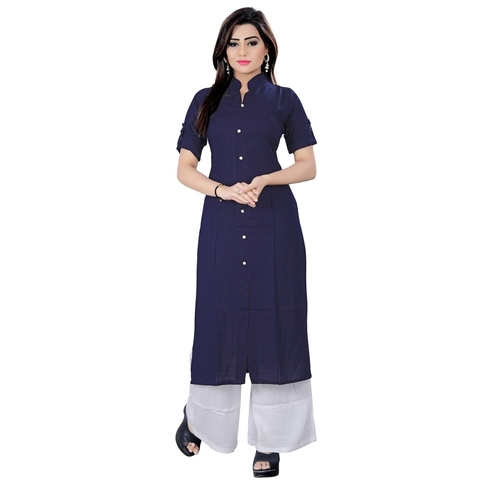 Fasdest Women/Ladies Straight Long Office-wear Rayon Blue Kurti