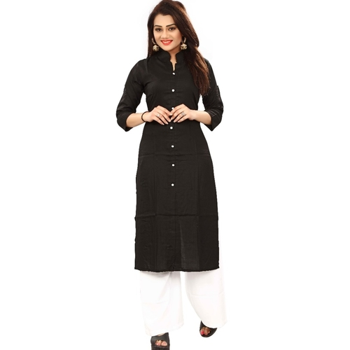 Fasdest Women/Ladies Straight Long Office-wear Rayon Black Kurti