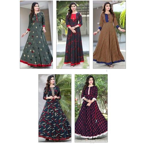 Fasdest Women/Ladies Long Full Flair Heavy Rayon  Kurti /Gown