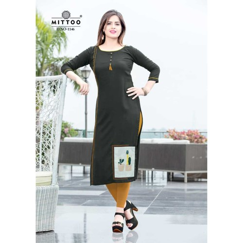 Fasdest Ladies/Women Rayon Designer Straight side-cut Long Kurti /Kurta/Top (1146)