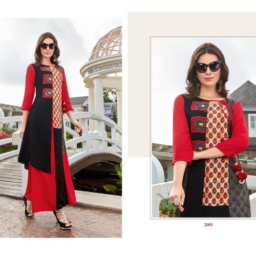 Fasdest Women/Ladies Long  Designer Rayon  Kurti /Gown/Dress (L2005)