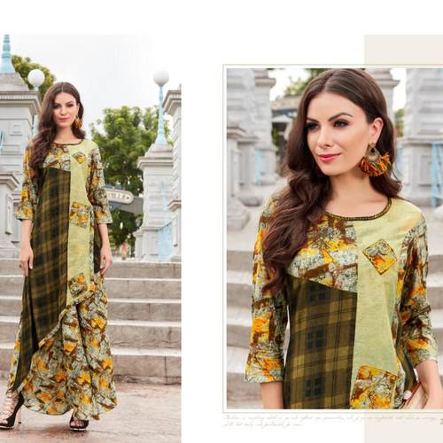 Fasdest Women/Ladies Long  Designer Rayon  Kurti /Gown/Dress(L2008)
